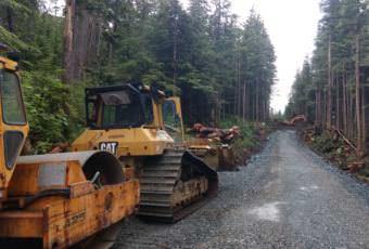 Crews from Enco Alaska work on the West Douglas pioneer road on June 16, 2017.