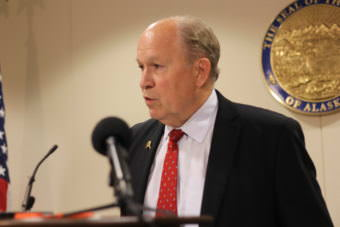 Gov. Bill Walker speaks at a press availability in Anchorage on July 17, 2017. He said he won't call lawmakers back to Juneau unless they make progress. (Photo by Wesley Early/Alaska Public Media)