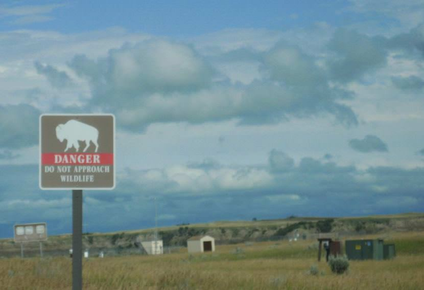 A sign at Theodore Roosevelt National Park in North Dakota warns against approaching wildlife.