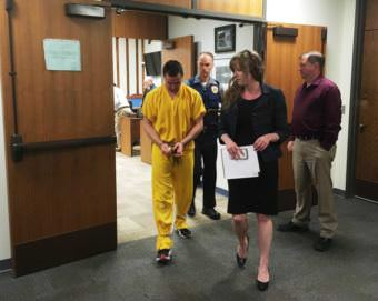 Jordan Joplin leaves the courtroom in the Ketchikan State Building after he pleaded not guilty to first- and second-degree murder. (Photo by Leila Kheiry/KRBD)