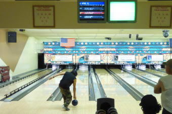 Wayne Fu Smallwood bowls at Taku Lane LLC on Saturday.