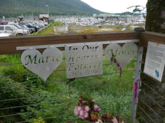 A memorial for Marie Giesbrecht and Molly Parks near the crash site by South Harbor.