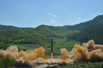 The intercontinental ballistic missile Hwasong-14 is seen during its test launch. (Photo via Korean Central News Agency)