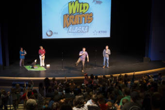 Martin and Chris Kratt share stories at Meet The Kratts, Wild Alaska Live Meet & Greet at Thunder Mountain Auditorium on Thursday July 20, 2017. (Photo by Annie Bartholomew/KTOO)