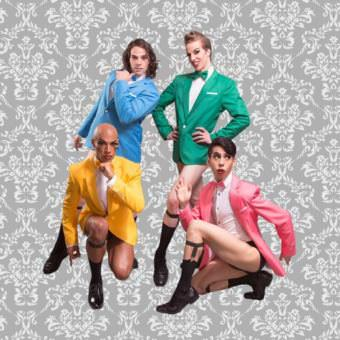 Seattle-based boylesque collective Mod Carousel features fraternal twins Trojan (blue) and Paris Original (green), Moscato Extatique (pink) and The Luminous Pariah (yellow). (Photo courtesy of the artist)