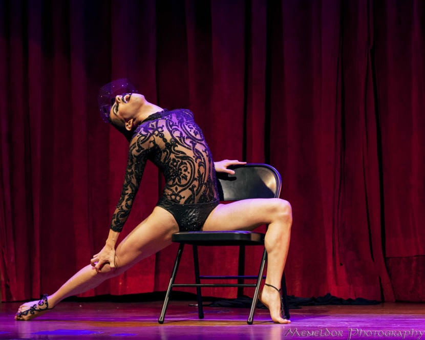 """Moscato Extatique performs """"Small Death"""" in Seattle boylesque collective Mod Carousel's new show """"Gilded"""" premiering in Juneau and Anchorage. (Photo courtesy Meneldor Photography.)"""