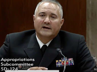 Michael Weahkee, a Public Health Service offers, is the acting head of the Indian Health Services. He was on the hot seat at a Senate hearing Wednesday. (Screen grab from hearing video on Senate.gov)
