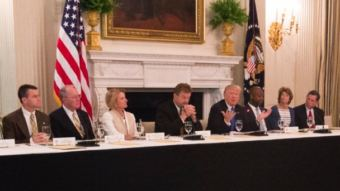 President Donald Trump holds a working lunch with GOP senators at the White House on Wednesday. Prominent opponents of repealing the Affordable Care Act without a replacement like Alaska Sen. Lisa Murkowski, second from the right, were seated near the president. (Photo courtesy WhiteHouse.gov)