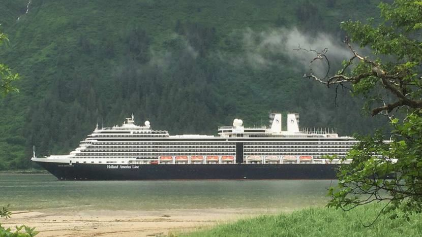 A Holland America cruise ship sails up Juneau's Gastineau Channel June 19 2017. (Photo by Ed Schoenfeld/CoastAlaska News)