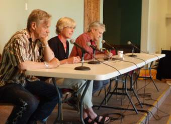 Tresham Gregg, Heather Lende and Tom Morphet take part in a public forum about the recall election. No recall proponents agreed to participate. (Photo by Abbey Collins/KHNS)