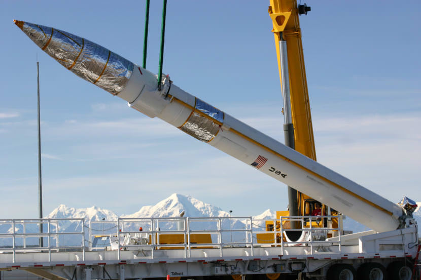 A ground-based missile interceptor is lowered into its silo at Fort Greely, Alaska, in 2007. (Photo courtesy U.S. Army)