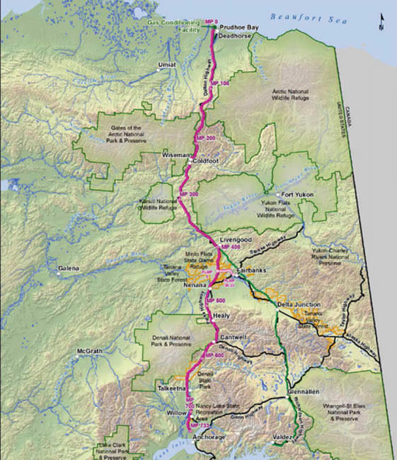 The current route planned for the Alaska Standalone Pipeline -- an in-state natural gas pipeline designed to bring gas from the North Slope to Alaska communities. (Map courtesy of the Alaska Gasline Development Corporation)