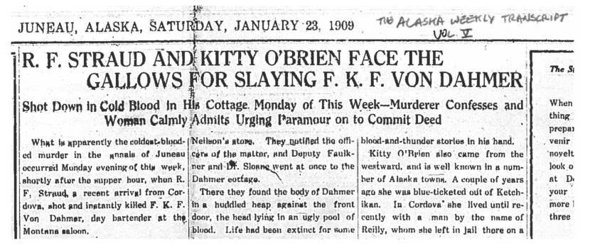 Headline and excerpt of Jan. 23, 1909 article in Alaska Weekly Transcript.