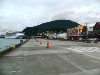 Ketchikan's Berth 1 and 2, with a ship docked at Berth 3 in the background. (File photo by KRBD file photo)