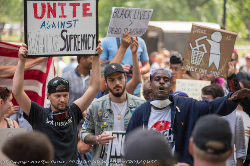 """Counterprotesters speak out against a """"free speech"""" rally in Boston on Aug. 19, 2017."""