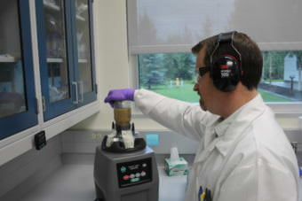 The food safety lab at the department of environmental conservation. (Photo by Henry Leasia/Alaska Public)