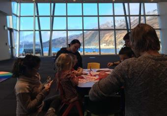 Students and teachers in classroom in the Afognak building on Near Island during pilot semester. (Photo by Kayla Desroches/KMXT)