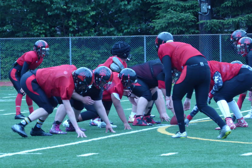 The Crimson Bears offense and defense face off at a summer practice.