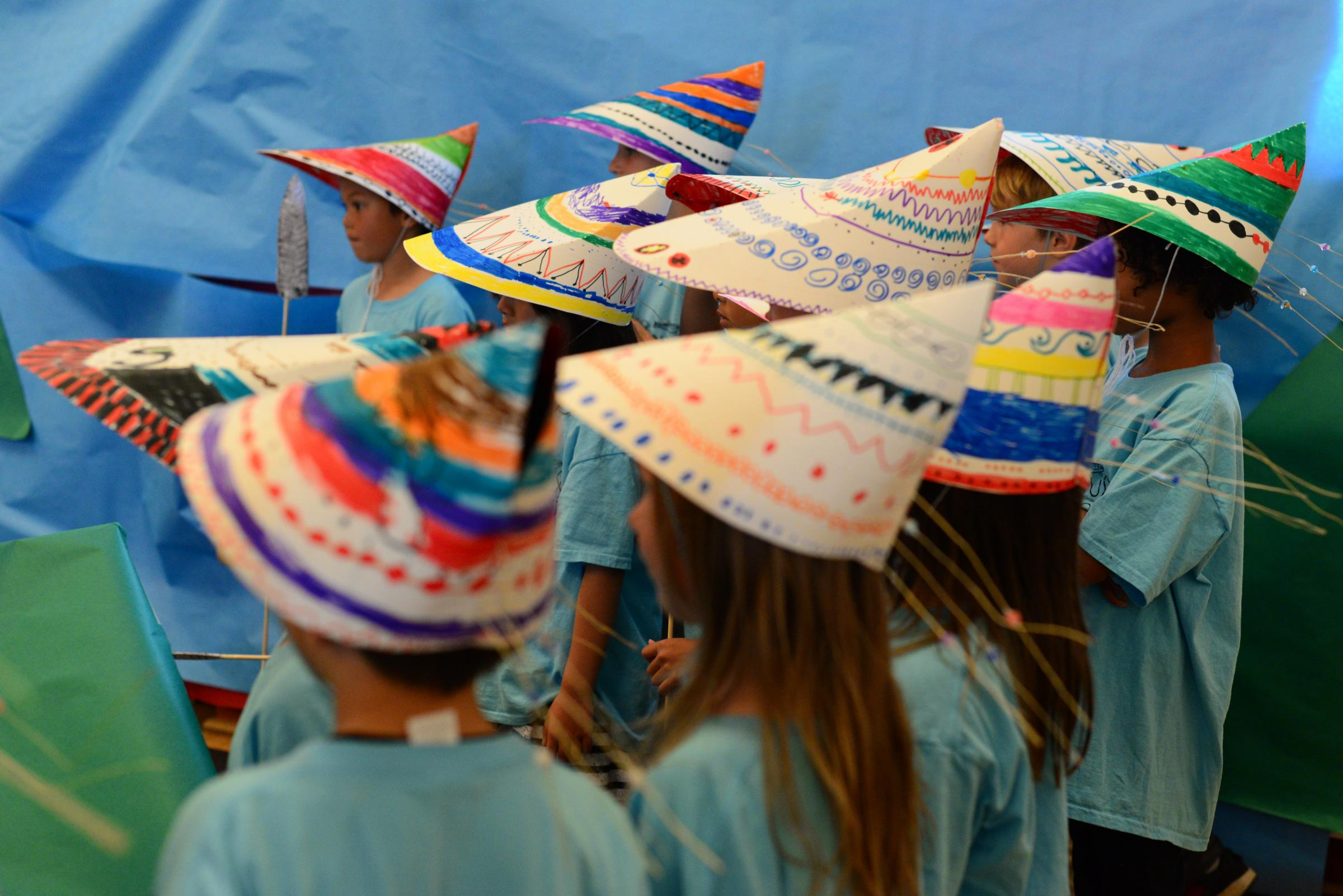 Campers decorated their own bentwood hats based on traditional Unangan designs. (Photo by Berett Wilber/KUCB)
