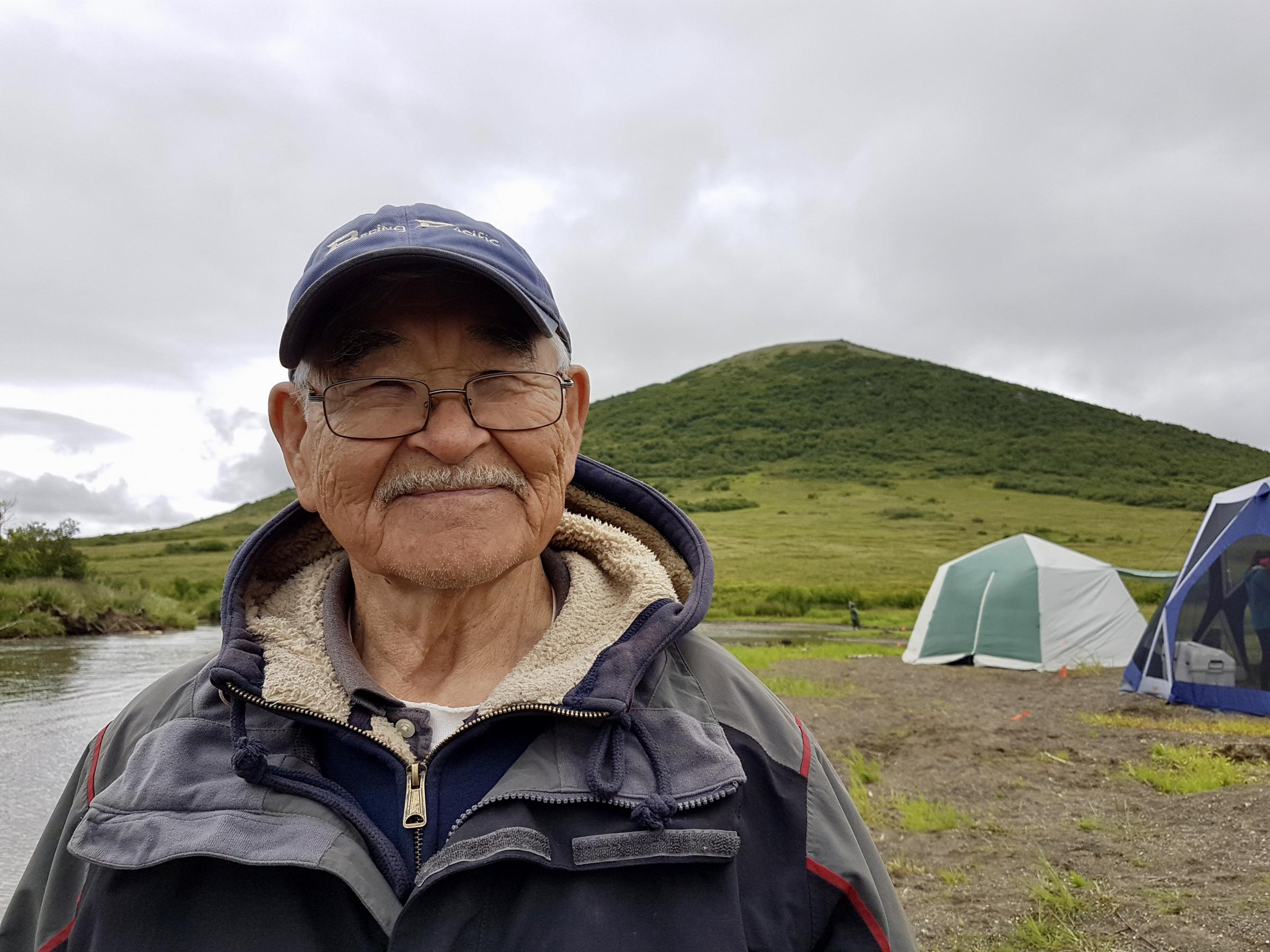 James Charles is camp elder and in-season manager with the Kuskokwim River Intertribal Fish Commission. (Photo by Christine Trudeau/KYUK)