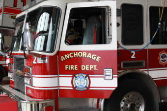 Anchorage Fire Department Fire Engine (Photo by Wesley Early, Alaska Public Media – Anchorage)