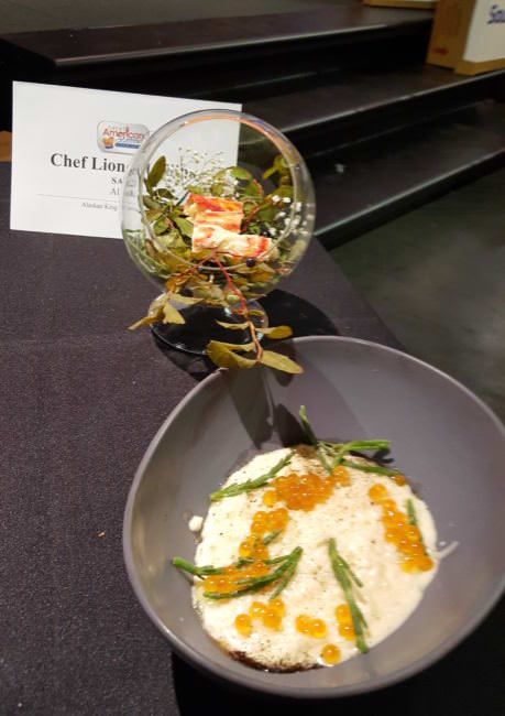Juneau chef Lionel Uddipa's winning dish at the Great American Seafood Cook-Off: Alaska King Crab from Bristol Bay skewered with blueberry branches from Eaglecrest and a risotto made from black cod fish sauce. (Photo Courtesy of the Alaska Seafood Marketing Institute)