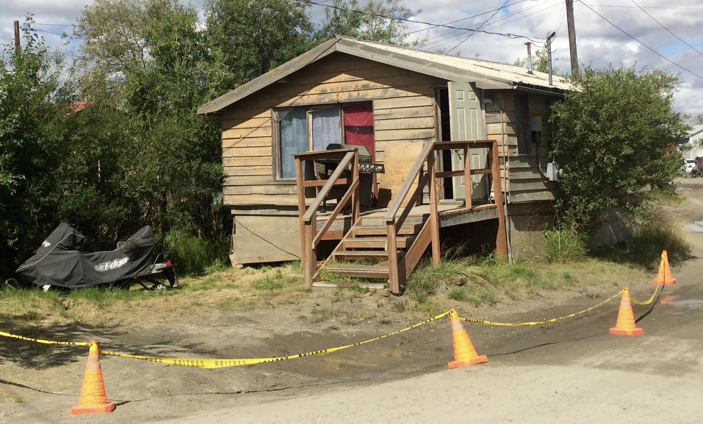 Yellow caution tape surrounds an alleged crime scene at 840 Jacobs Way, Bethel, where Jason Joseph Lupie is accused of murdering his wife, Marie Beebe Lupie. (Photo by Anna Rose MacArthur/KYUK)