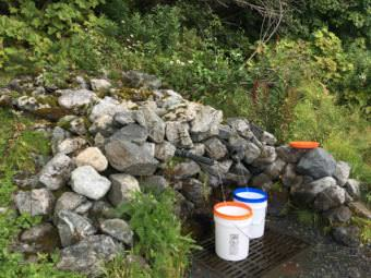 A Haines resident fills up buckets of water at the Mud Bay spring to use for drinking and cleaning. (Photo by Abbey Collins/KHNS)