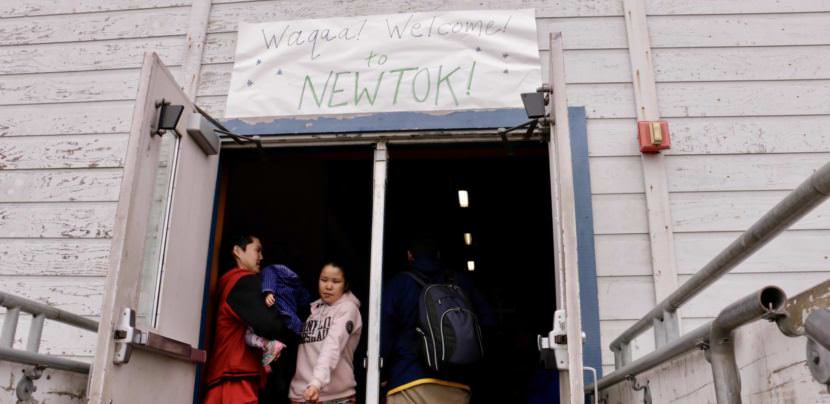 Newtok welcomes guests before their trip over to the new village site, Mertarvik. (Photo by Christine Trudeau/KYUK)