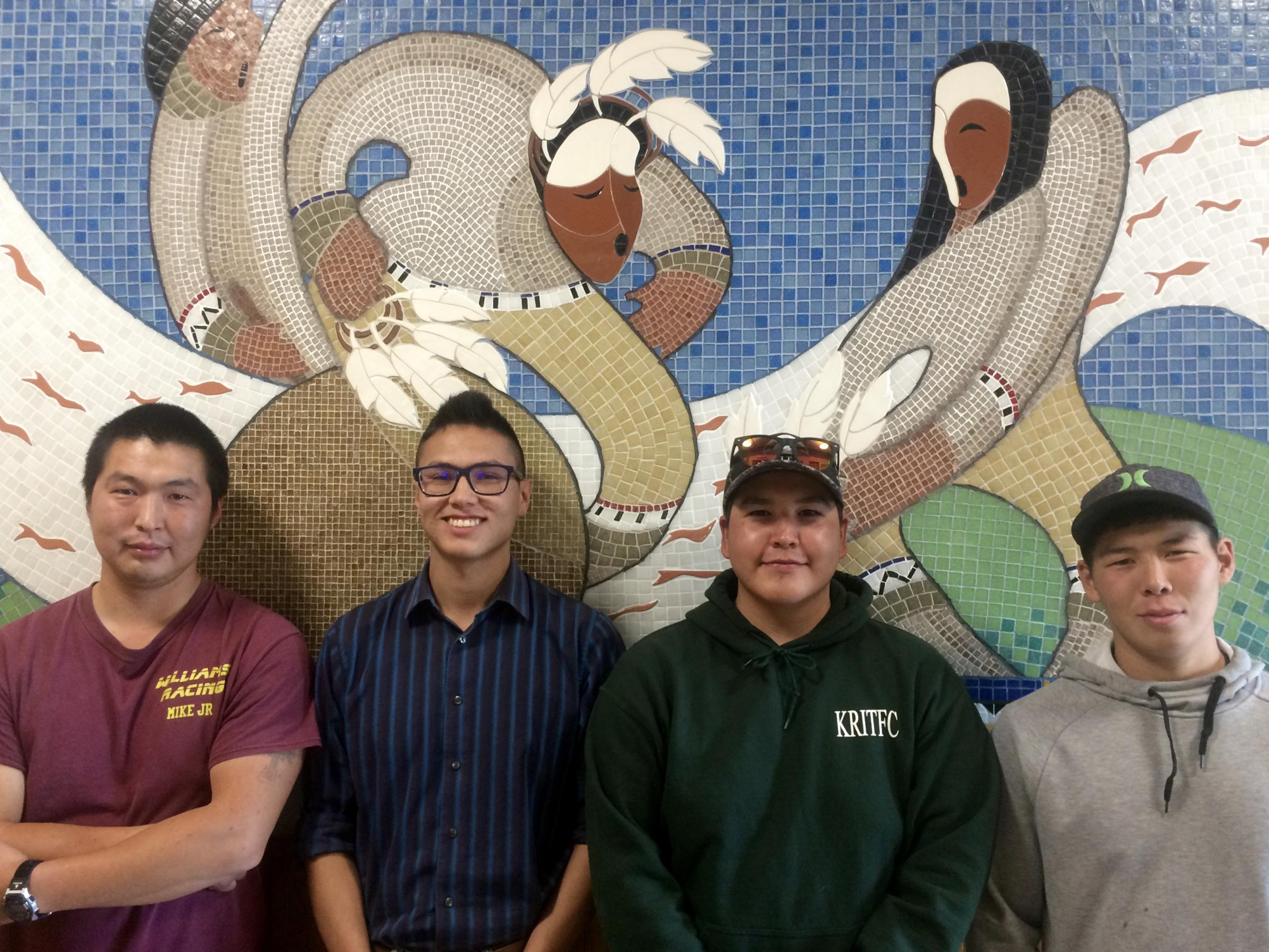 Community harvest monitors working with the Bering Sea Fishermen's Association in Kuskokwim villages: (left to right) Mike Williams Jr., Ben Agimuk, Jackie Larson, and Bernard Williams. (Photo by Anna Rose MacArthur/KYUK)