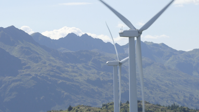Kodiak generates about 20 percent of its electricity from wind. The Kodiak Electric Association has installed six turbines on Pillar Mountain since 2009. (Photo by Eric Keto/Alaska's Energy Desk)
