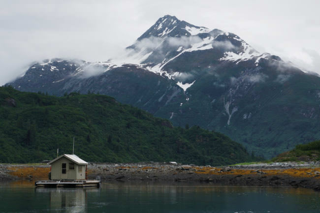 When the researchers weren't in kayaks, they spent time in a small float house in Glacier Bay. (Photo courtesy of Brian Buma/University of Alaska Southeast)