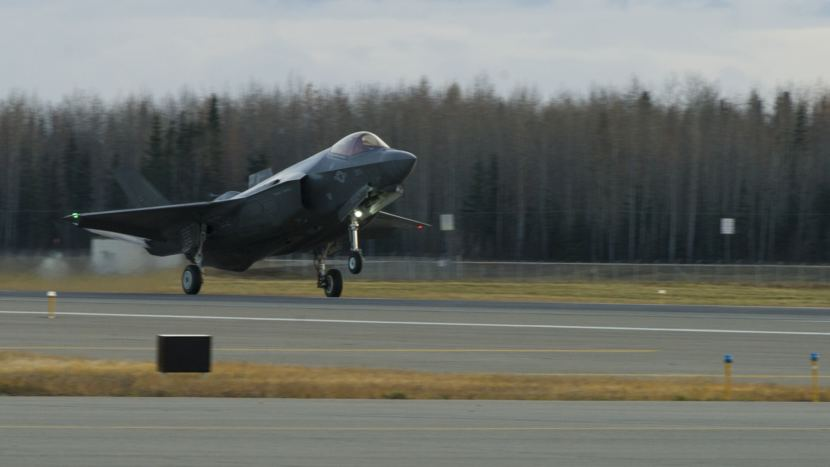 A U.S. Air Force F-35A Lightning II fighter aircraft lands on the runway Oct. 12, 2017, at Eielson Air Force Base. This is the first time in history an F-35, fifth generation multi-role fighter aircraft, has landed at Eielson.