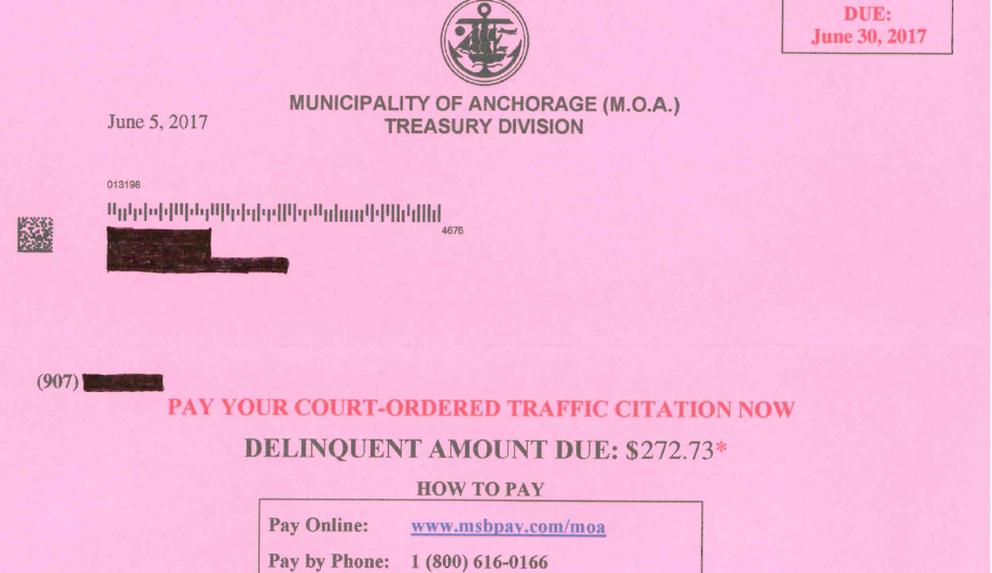Unpaid fine notice (Municipality of Anchorage)