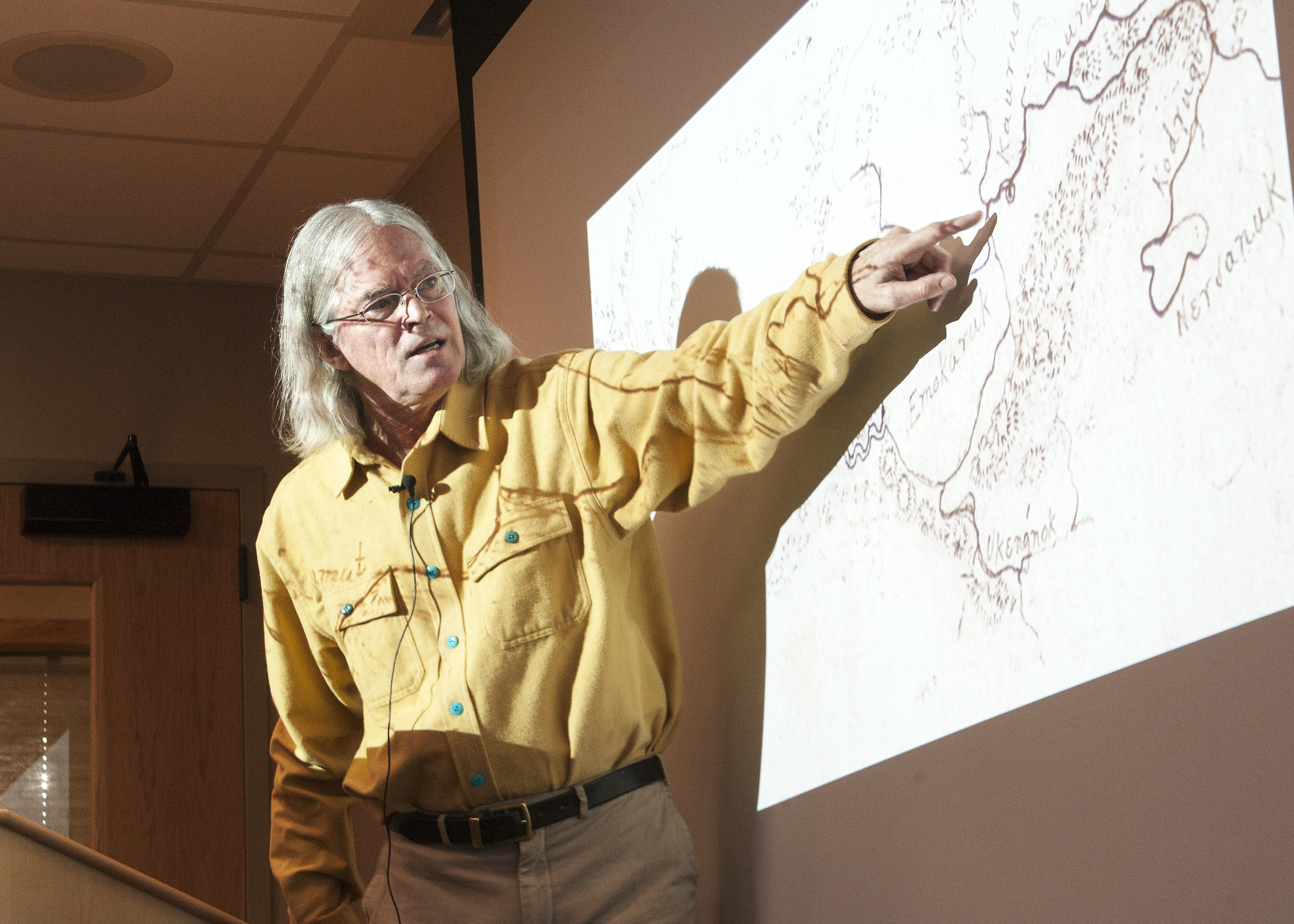 Independent historian John Cloud gave a lecture Wednesday, Nov. 15, 2017, on the significant contributions Alaska Natives made to pre-statehood cartography at the Living History Room of the Walter Soboleff Building.