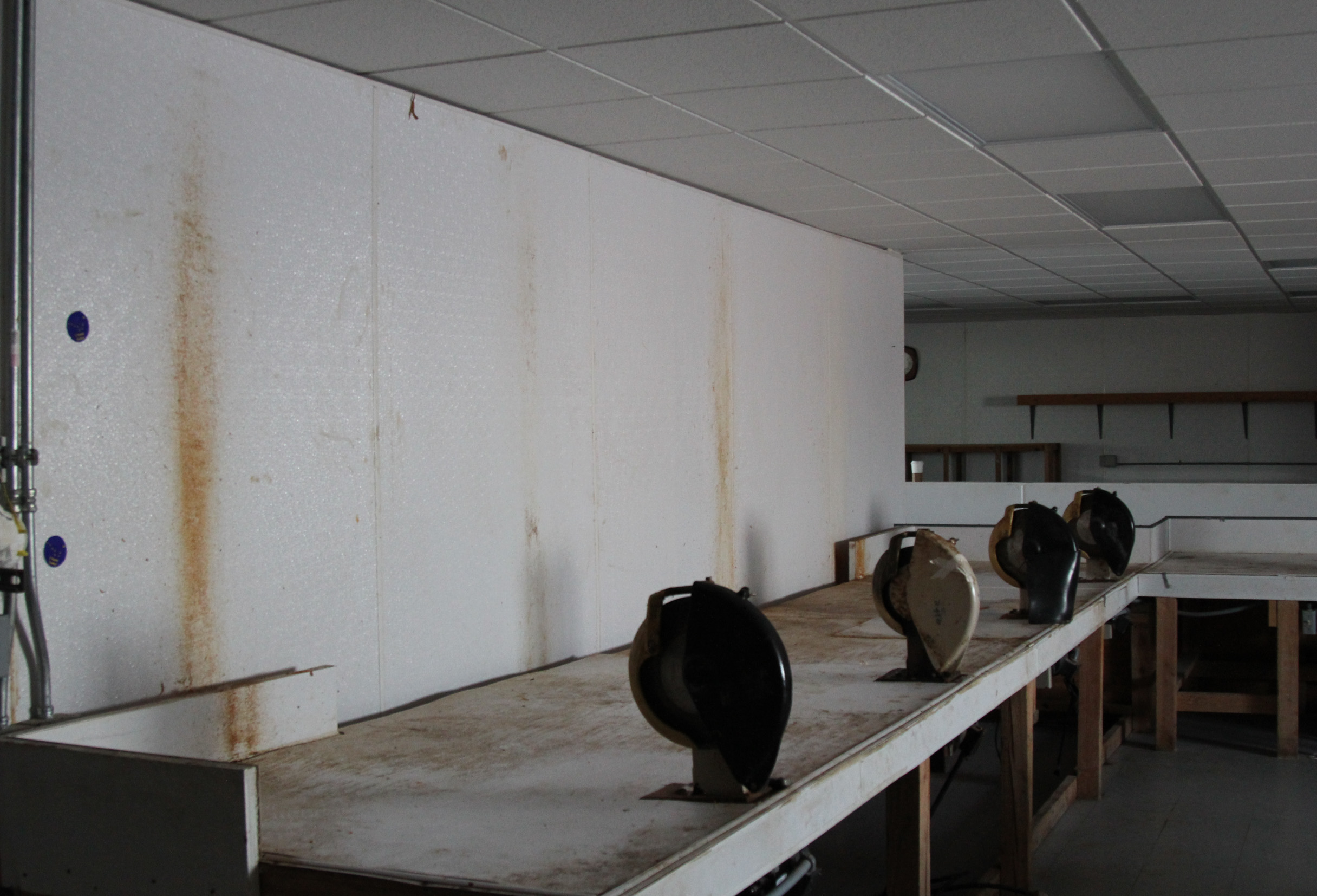 Fleshing machines had kicked off fat onto the walls. Dennis Sinook said they'd gotten to most of it, but run out of cleaning supplies before they could fully remove all the stains as the Shishmaref tannery was closed up for the season early in January. (Photo by Zachariah Hughes/Alaska Public Media)