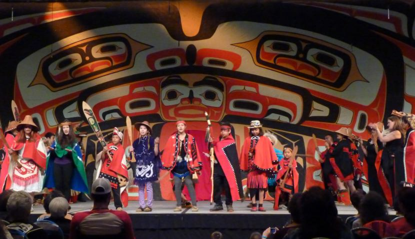 The Taku Kwan Dancers from Atlin, British Columbia, perform at Celebration on June 10, 2016. They're returning this year. (Photo by Ed Schoenfeld/CoastAlaska News)