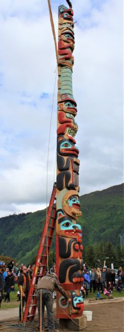 The Yanyeidì Gooch (wolf) totem pole is raised in Savikko Park on June 6, 2018. (Photo by Adelyn Baxter/KTOO)