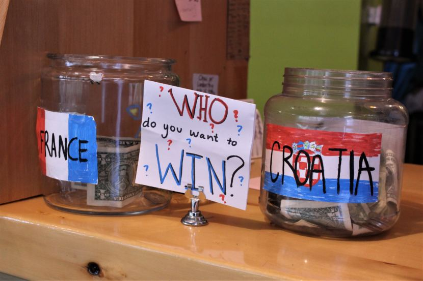 Tip jars encourage Coppa patrons to show which team they supported in Sunday's World Cup final on July 15, 2018. (Photo by Adelyn Baxter/KTOO)