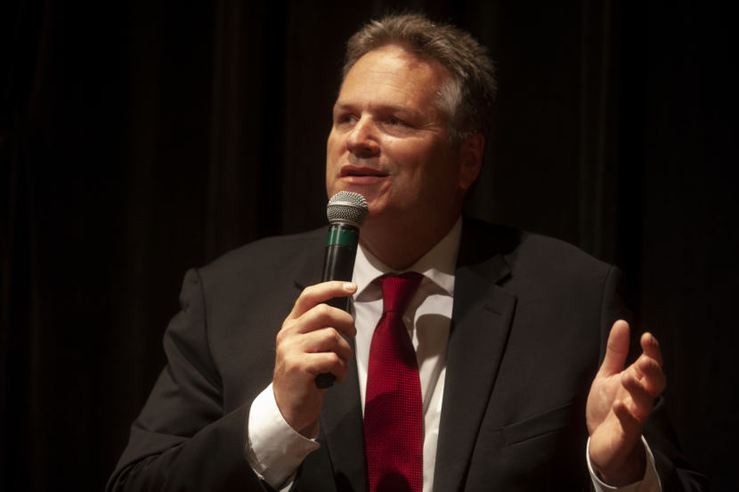 Former state senator and gubernatorial candidate Mike Dunleavy talks to the audience during a Juneau Chamber of Commerce forum on Thursday, September 6, 2018, in Juneau, Alaska. (Photo by Rashah McChesney/Alaska's Energy Desk)
