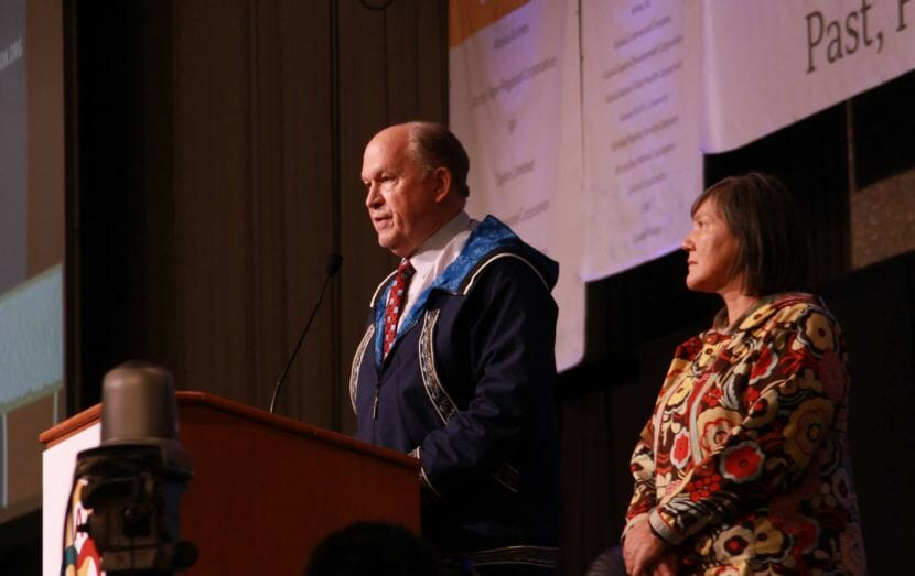 Alaska Gov. Bill Walker announces Friday that he is suspending his re-election campaign at the Alaska Federation of Natives convention in Anchorage. With Lt. Gov. Valerie Davidson next to him, Walker endorsed Mark Begich.