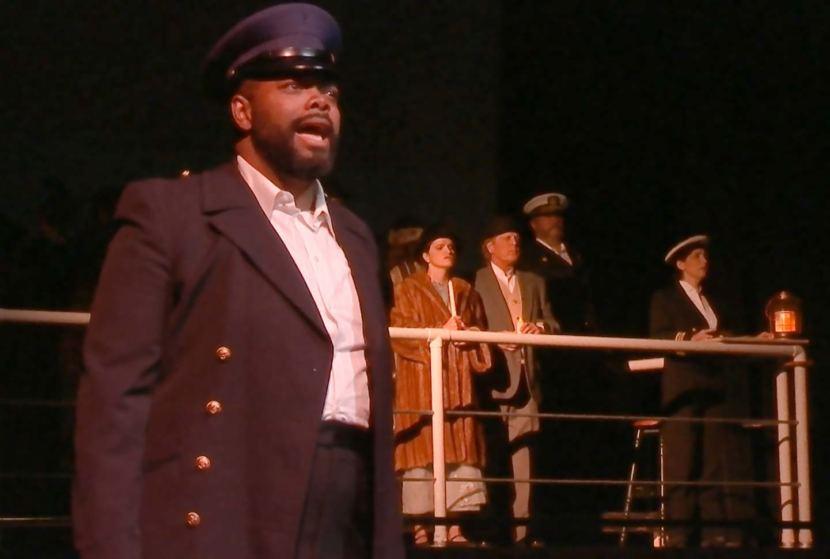 Bernard Holcomb portrays Captain John Ledbetter in the original opera 'The Princess Sophia,' shown here during a dress rehearsal on Oct. 22, 2018. (Video still by David Purdy/KTOO)