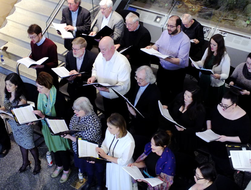 The chorus sings during a preview of The Princess Sophia opera at the Father Andrew P. Kashevaroff State Library, Archives, and Museum in March 2018.
