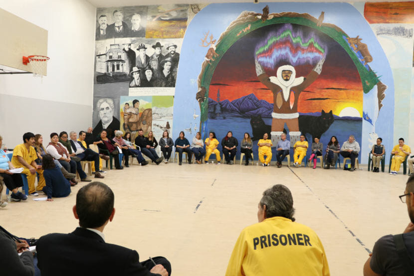 Community members gathered for a conversation at Anvil Mountain Correctional Center.