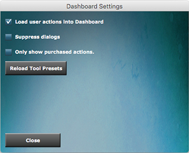 DASHBOARD 4 settings menu