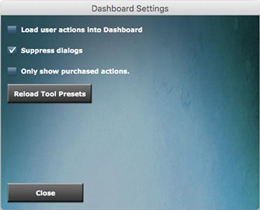 DASHBOARD 4 settings menu