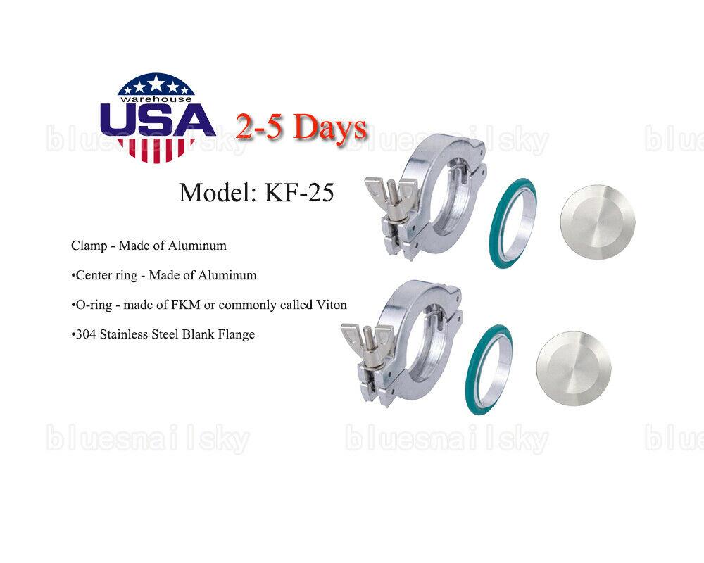 2Sets USA KF25 Aluminum Vacuum Clamp + Centering + FKM viton O-ring + End Cap