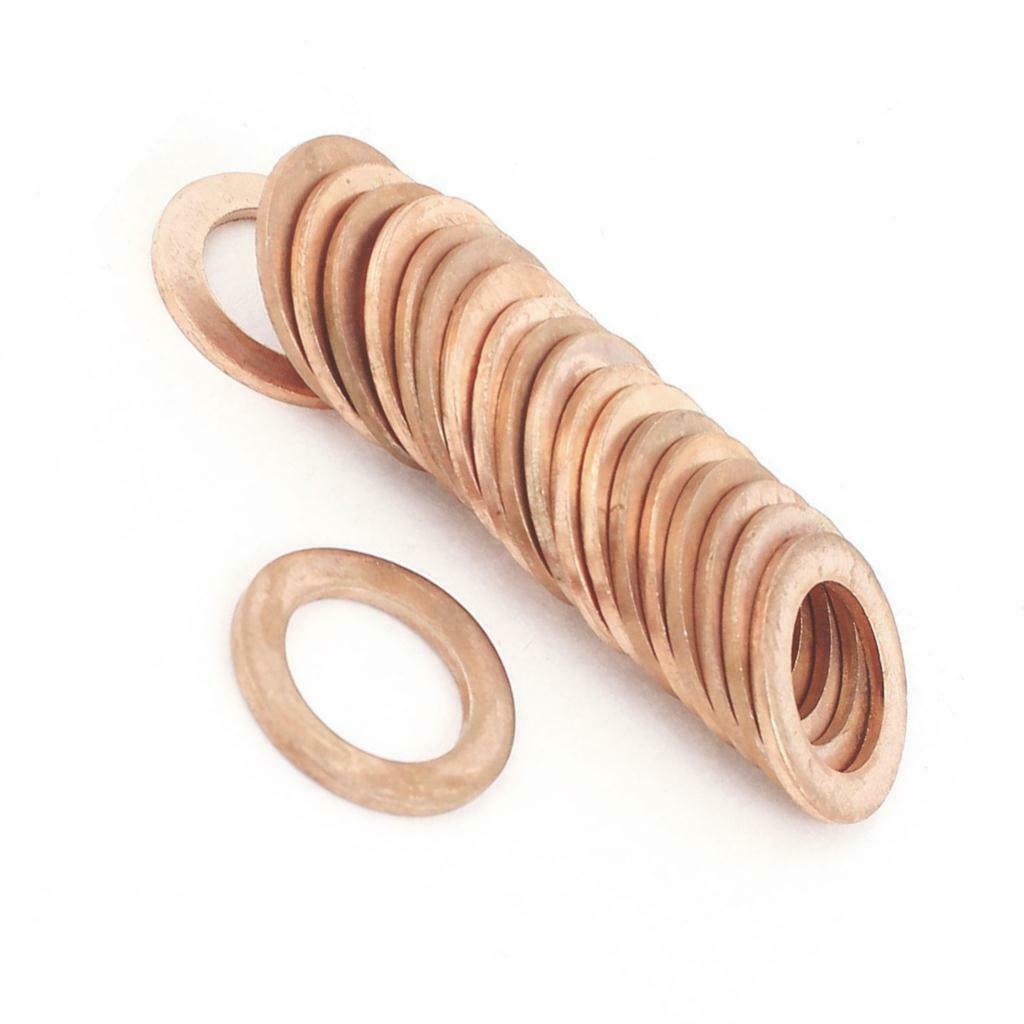 CF25 Flat Ring Copper Gasket Crush Washer Sealing Fastener 20Pcs