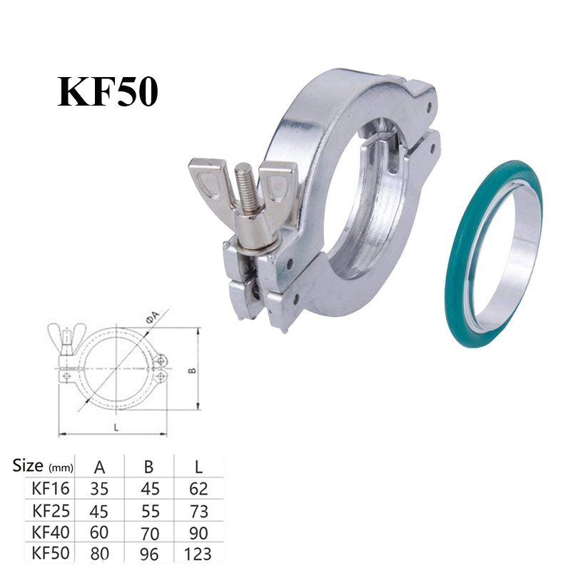 NW/KF Aluminum Flange Clamp + Flange Centering Clamp Ring Centering O-rings with Fluorine Rubber (kf-50)