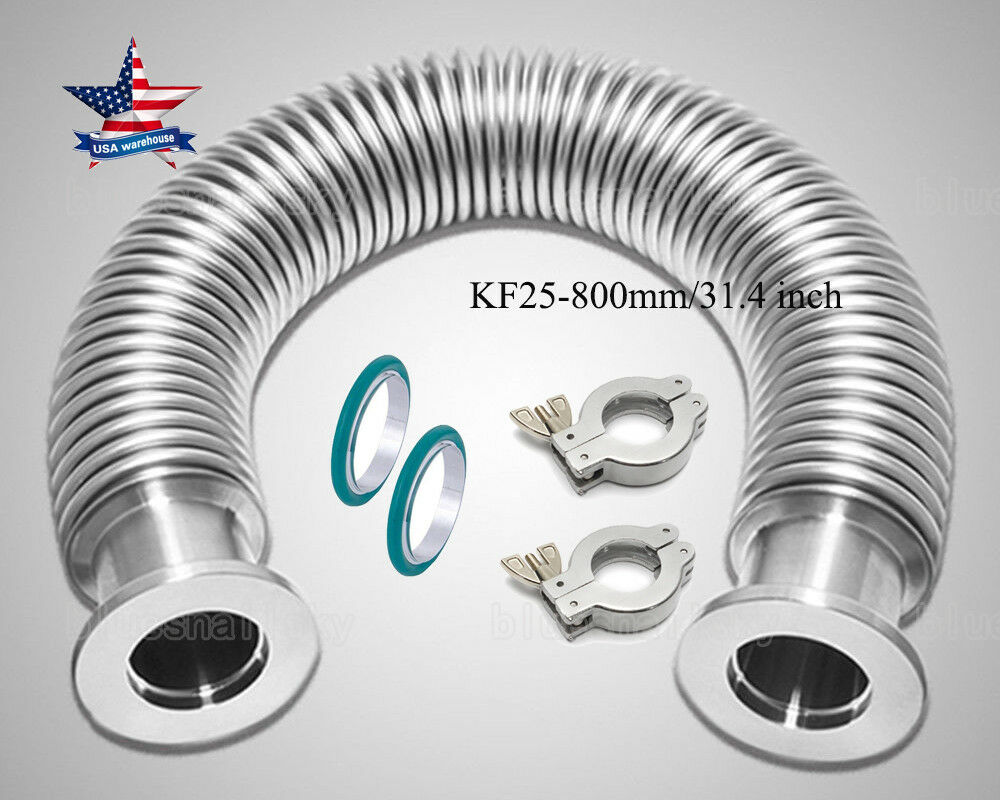 KF25 Flange Vacuum Bellow Hose 800mm SS304 + 2 Sets Clamper & O-ring Combo